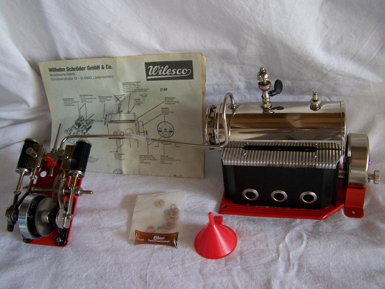 WILESCO M48 model boat live steam gas powered steam engine